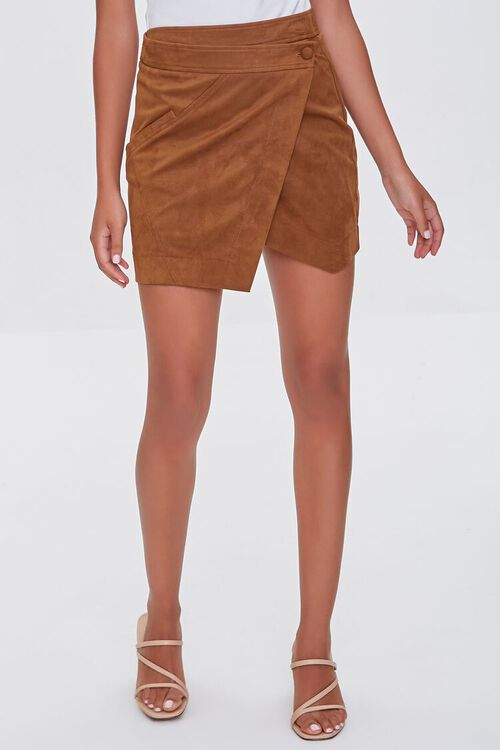 CAMEL Faux Suede Wrap-Front Skirt, image 2