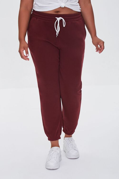 WINE Plus Size French Terry Joggers, image 2