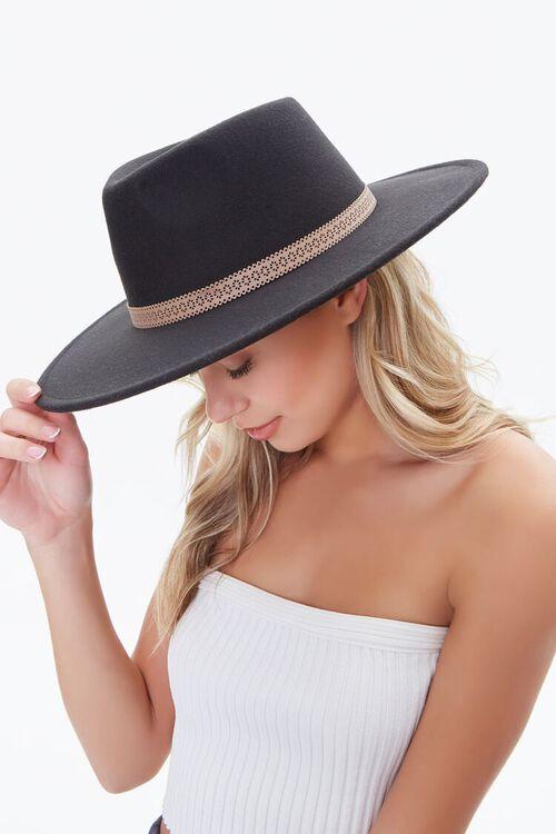BLACK/BROWN Cutout-Trim Panama Hat, image 2