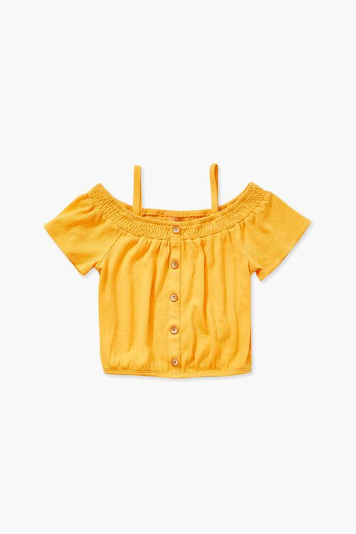 Girls Buttoned Open-Shoulder Top (Kids), image 1
