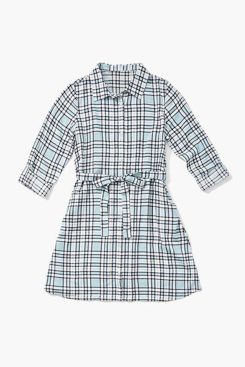 BLUE/MULTI Girls Plaid Shirt Dress (Kids), image 1