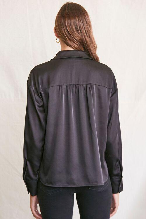 BLACK Satin Dolphin-Hem Shirt, image 3