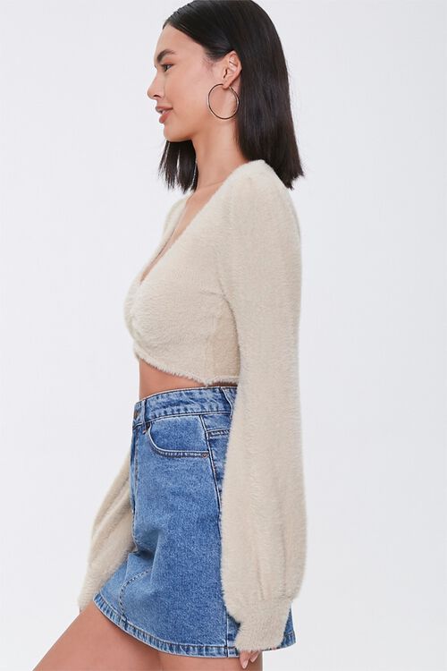 Fuzzy Knit Cropped Sweater, image 2