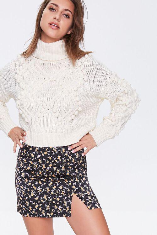 Satin Floral Mini Skirt, image 1