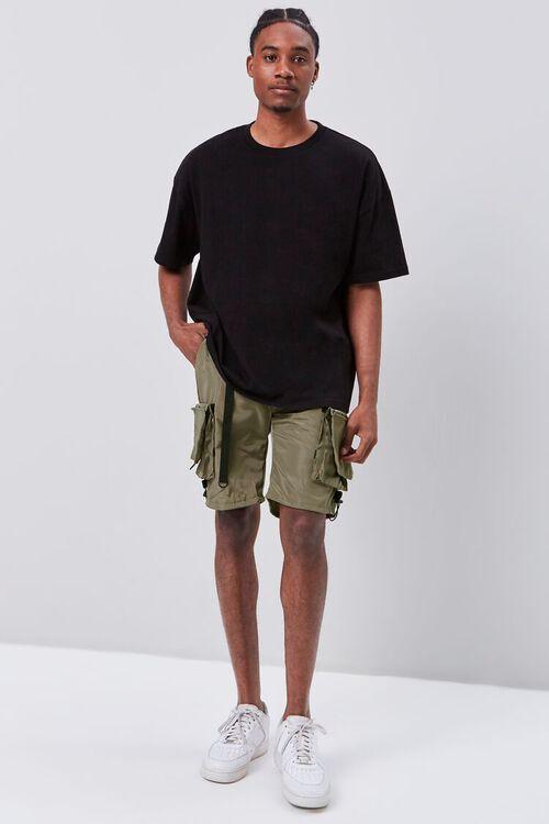 OLIVE Release-Buckle Belted Cargo Shorts, image 5