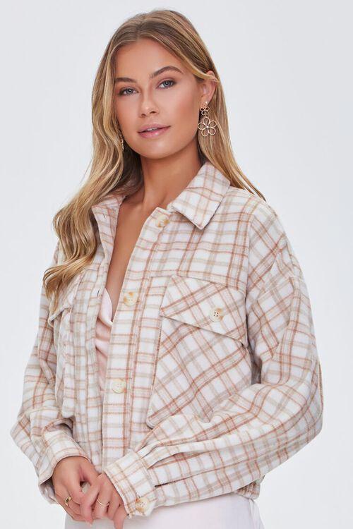 CREAM/MULTI Plaid Button-Front Jacket, image 1