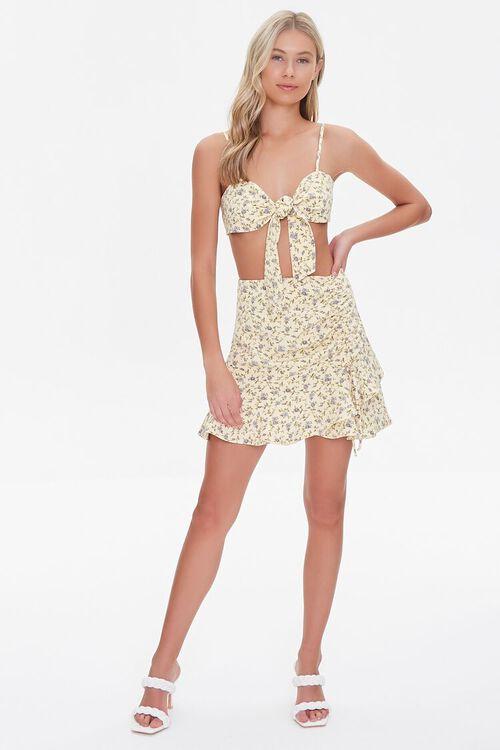 YELLOW/MULTI Floral Print Crop Top & Skirt Set, image 4