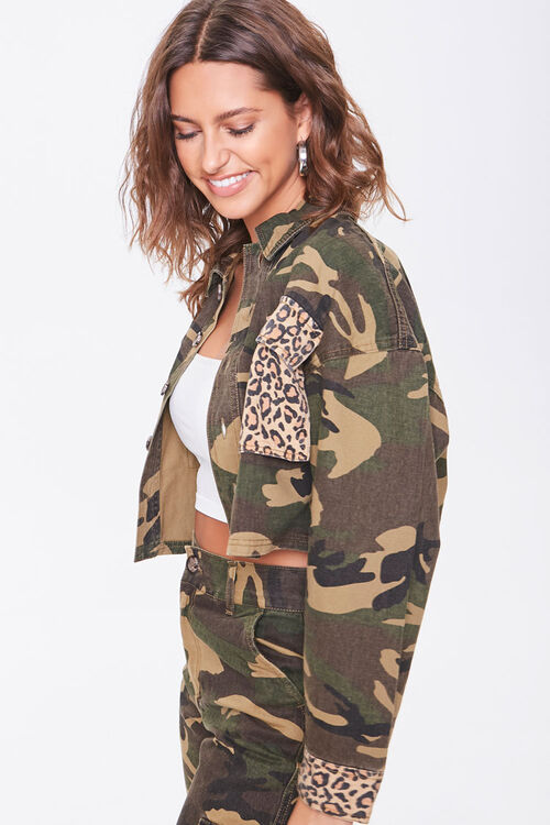Camo Leopard Print Patternblock Jacket, image 2