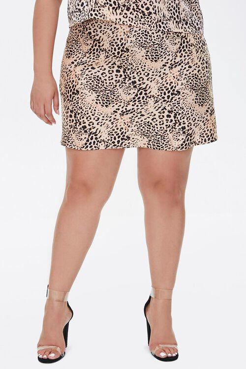 Plus Size Satin Animal Print Mini Skirt, image 2