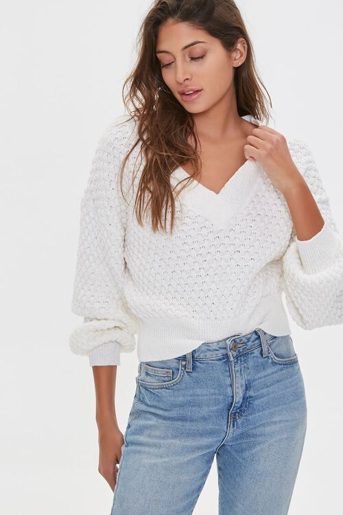 Textured V-Neck Sweater, image 1