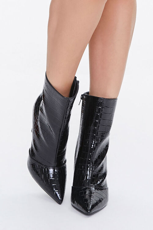 Faux Croc Leather Stiletto Booties, image 4