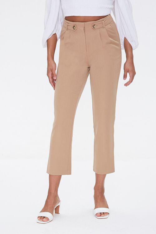 TAUPE Tab-Waist Ankle Pants, image 2