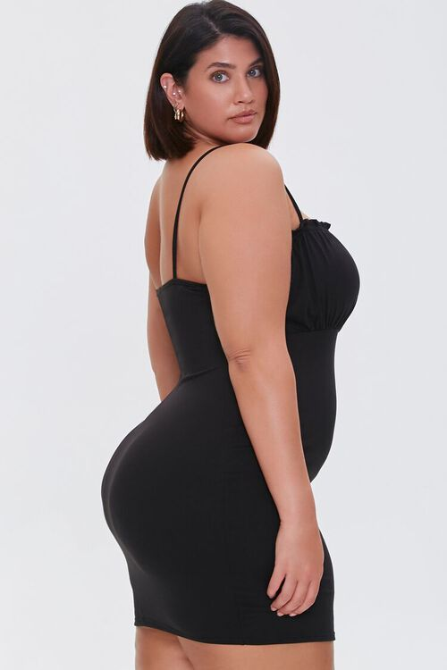 BLACK Plus Size Ruched Cami Dress, image 2