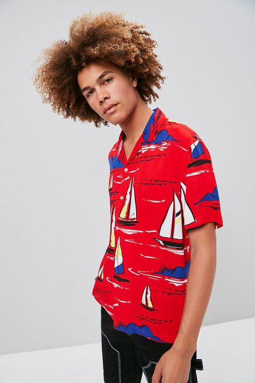 Classic Fit Sailboat Print Shirt, image 1