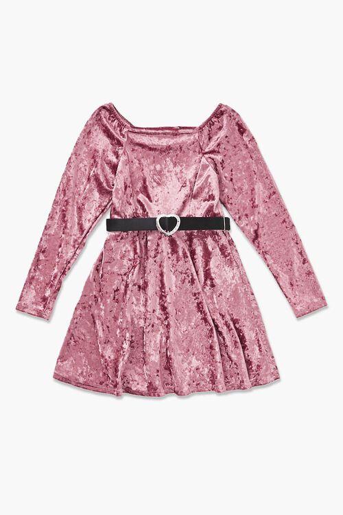 Girls Crushed Velvet Dress (Kids), image 1