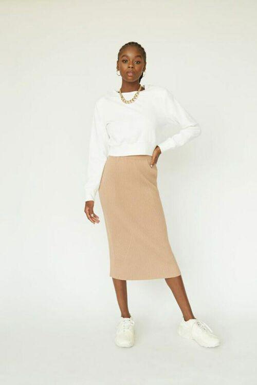 CAMEL Ribbed Top & Pencil Skirt Set, image 1