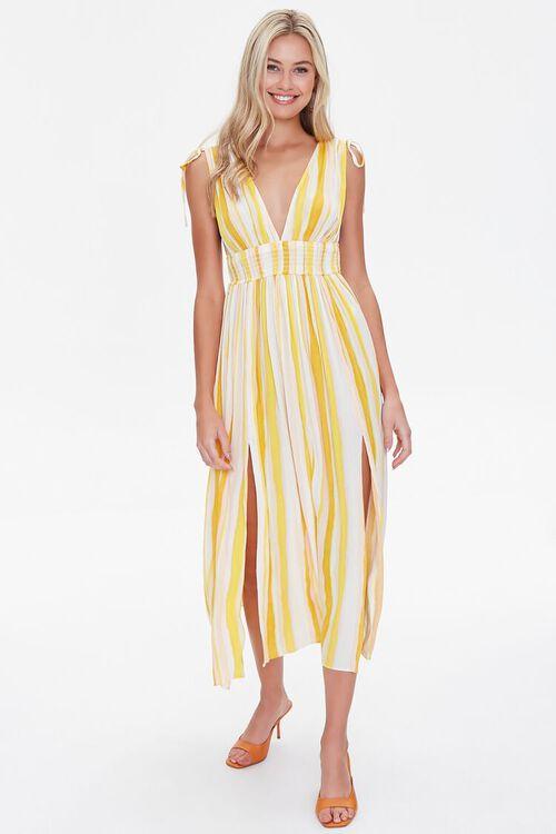 Crinkled Striped M-Slit Dress, image 1