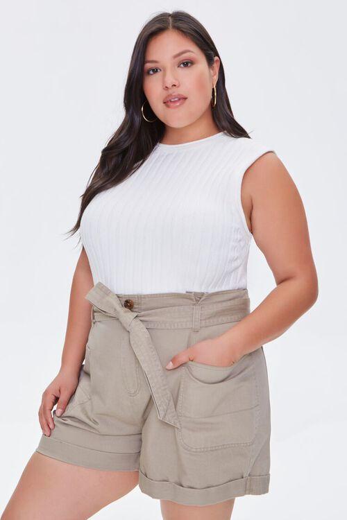 Plus Size Cuffed Tie-Belt Shorts, image 1