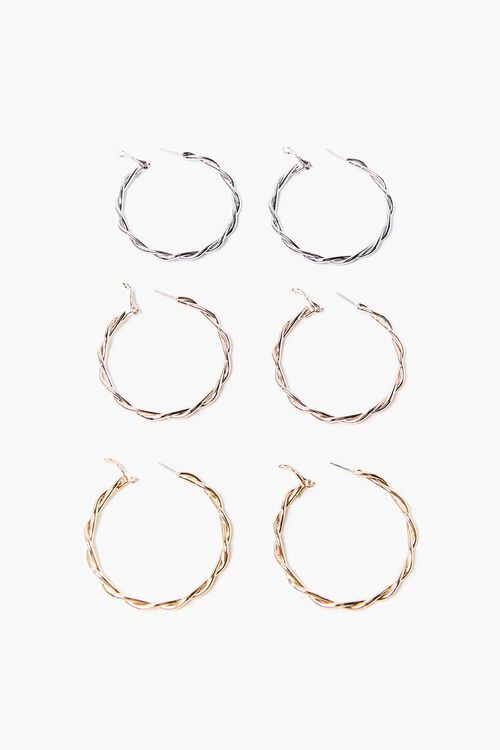 Variety-Finish Twisted Hoop Earrings, image 1