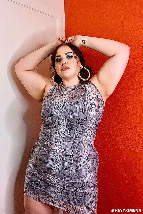 Plus Size Snake Print Mini Dress, image 1