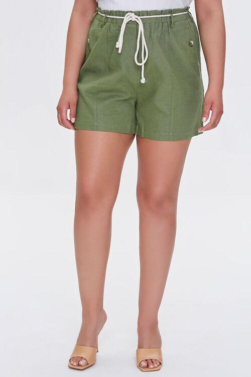 Plus Size Paperbag Linen-Blend Shorts, image 2