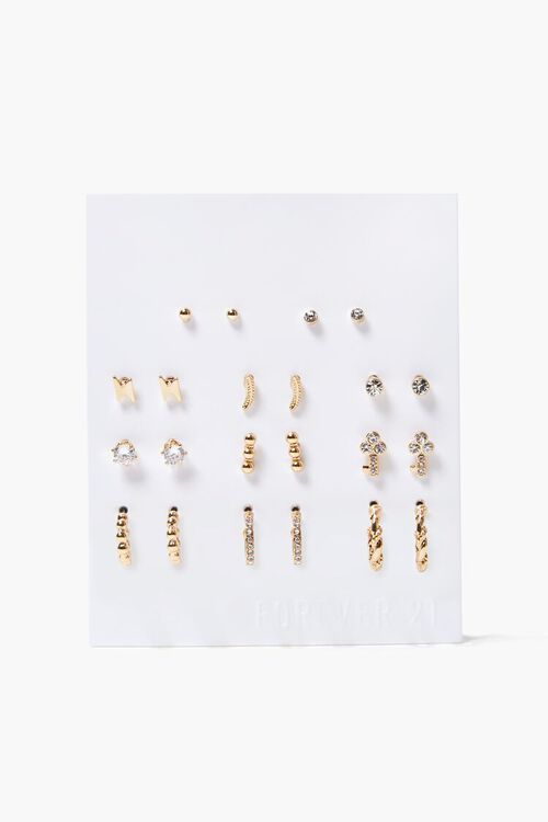 GOLD/CLEAR Lighting Bolt Stud Earring Set, image 1