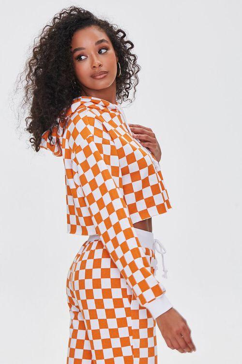 ORANGE/WHITE Checkered Cropped Hoodie, image 2