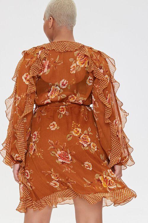 Plus Size Ruffled Rose Print Dress, image 3