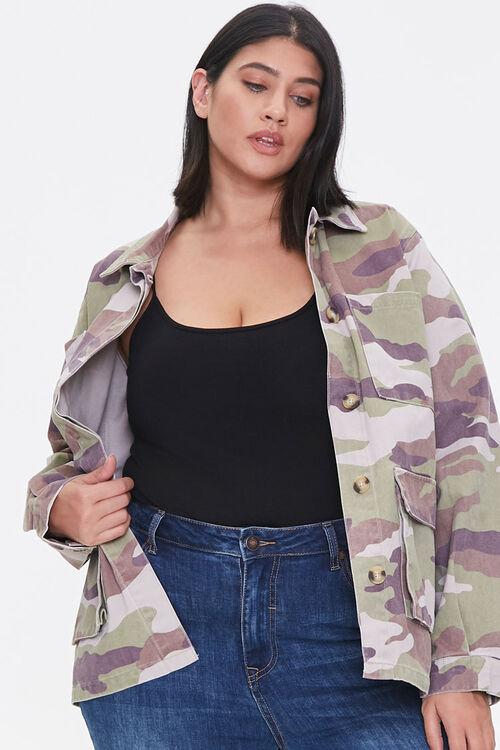Plus Size Camo Print Twill Jacket, image 1