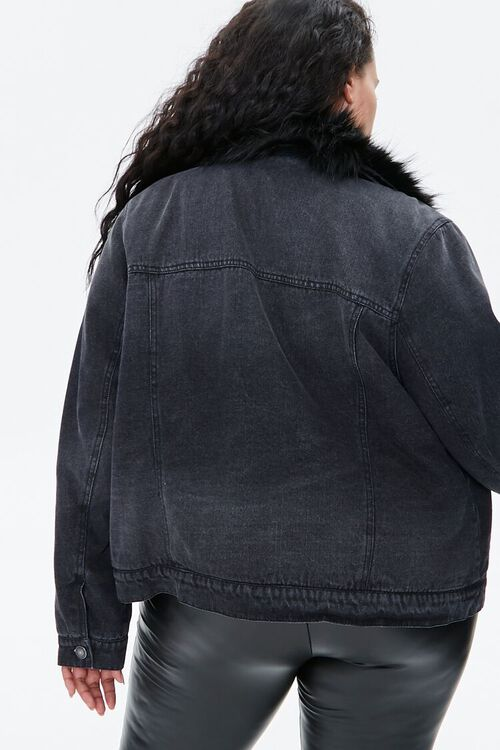 Plus Size Faux Fur-Trim Denim Jacket, image 3