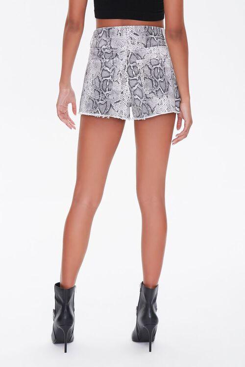 Snakeskin Print Denim Shorts, image 4