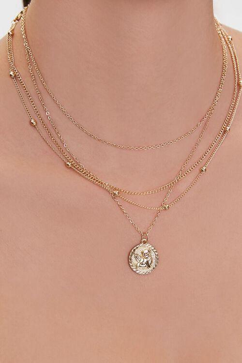 GOLD Upcycled Cherub Pendant Layered Necklace, image 1