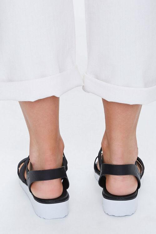 BLACK Strappy Flatform Wedge Sandals, image 4
