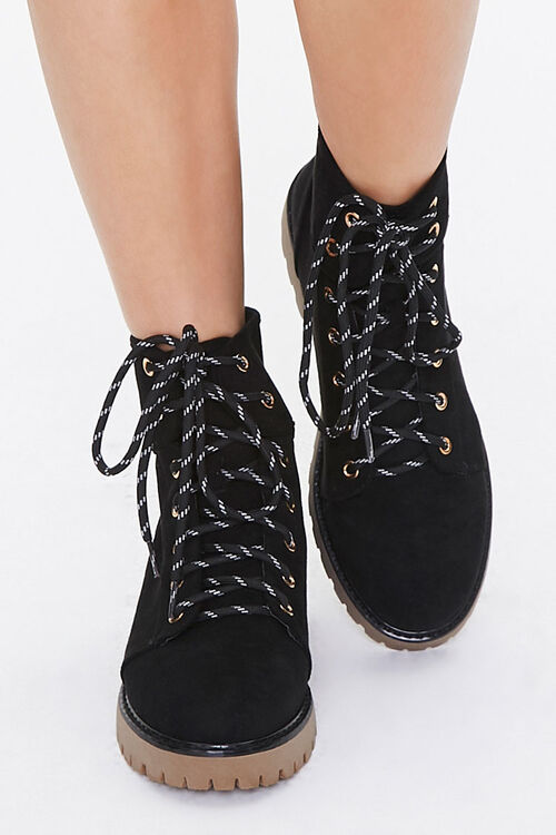 Lace-Up Faux Suede Ankle Booties, image 4