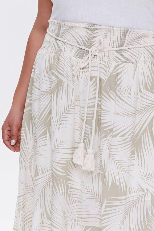 Plus Size Tropical Leaf M-Slit Skirt, image 5