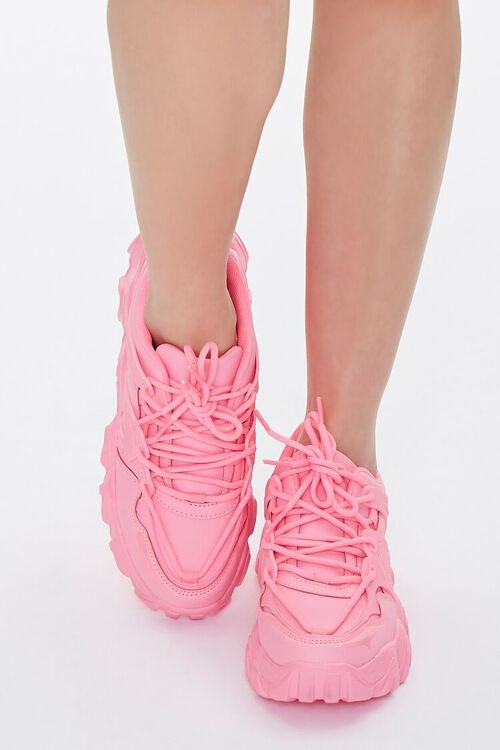 PINK Faux Leather Low-Top Sneakers, image 4