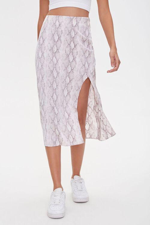 GREY/MULTI Snake Print Slit Skirt, image 2