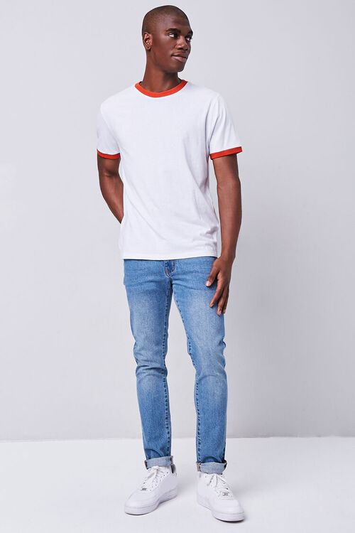 WHITE/RED Contrast-Trim Ringer Tee, image 4