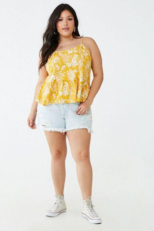 Plus Size Tropical Print Ruffle-Hem Cami, image 4