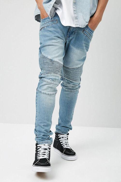 Distressed Slim-Fit Moto Jeans, image 2