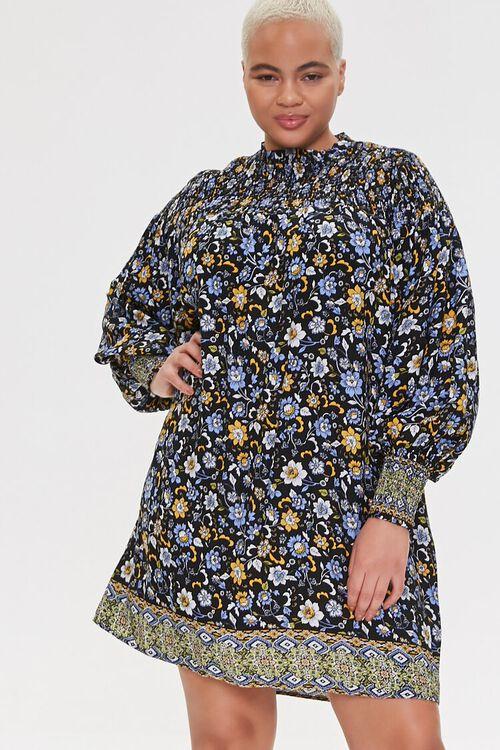 Plus Size Ornate Floral Shift Dress, image 1