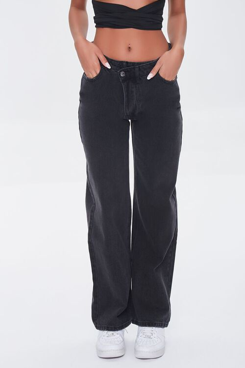 WASHED BLACK Crisscross High-Rise Straight Jeans, image 2