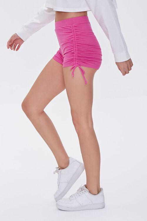 HOT PINK Ruched Drawstring Shorts, image 3