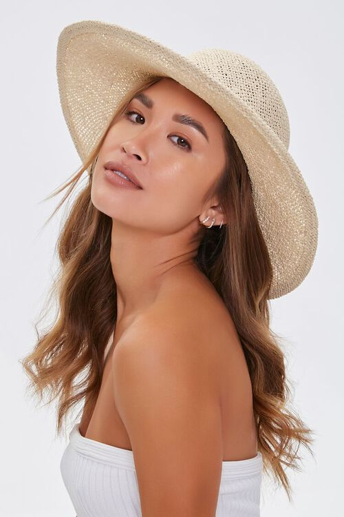 NATURAL/BLACK Faux Straw Bow Ribbon Boater Hat, image 3
