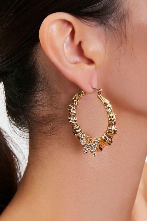 GOLD Butterfly Charm Hoop Earrings, image 1