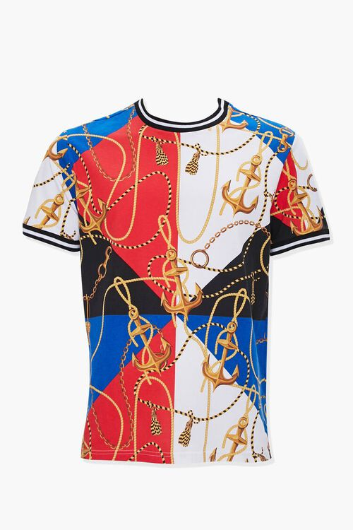 Anchor Chain Print Colorblock Ringer Tee, image 1