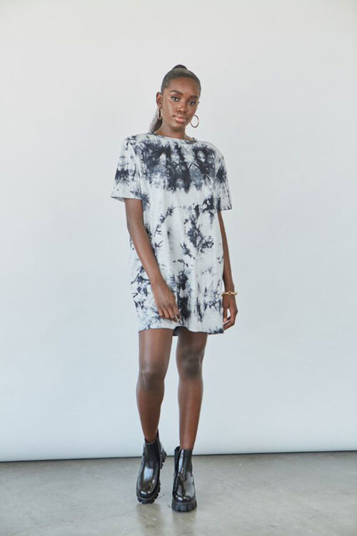 BLACK/CREAM Tie-Dye Shoulder Pad T-Shirt Dress, image 1