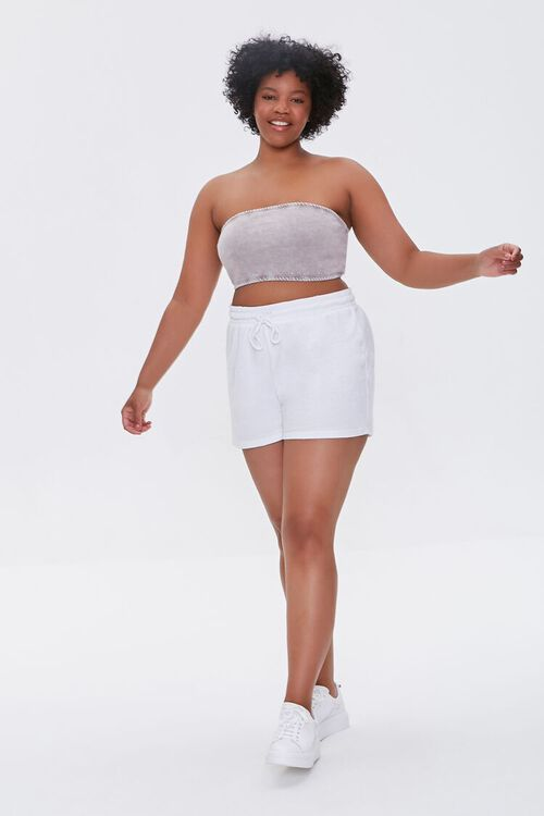 Plus Size French Terry Drawstring Shorts, image 5