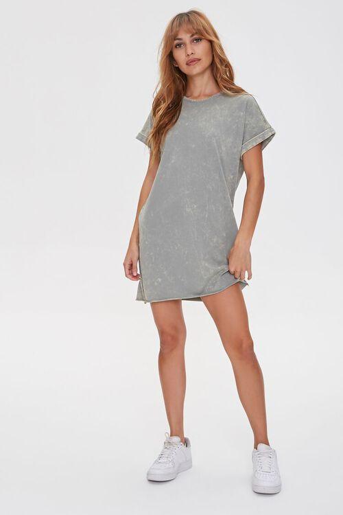 Black linen and upcycled denim t-shirt dress