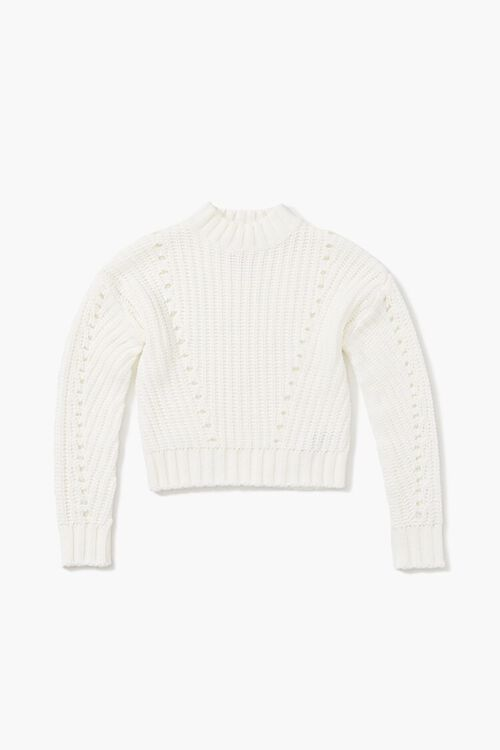 Girls Ribbed Mock Neck Sweater (Kids), image 1